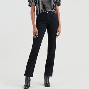 Black Levi's 724 High Rise Straight Jeans